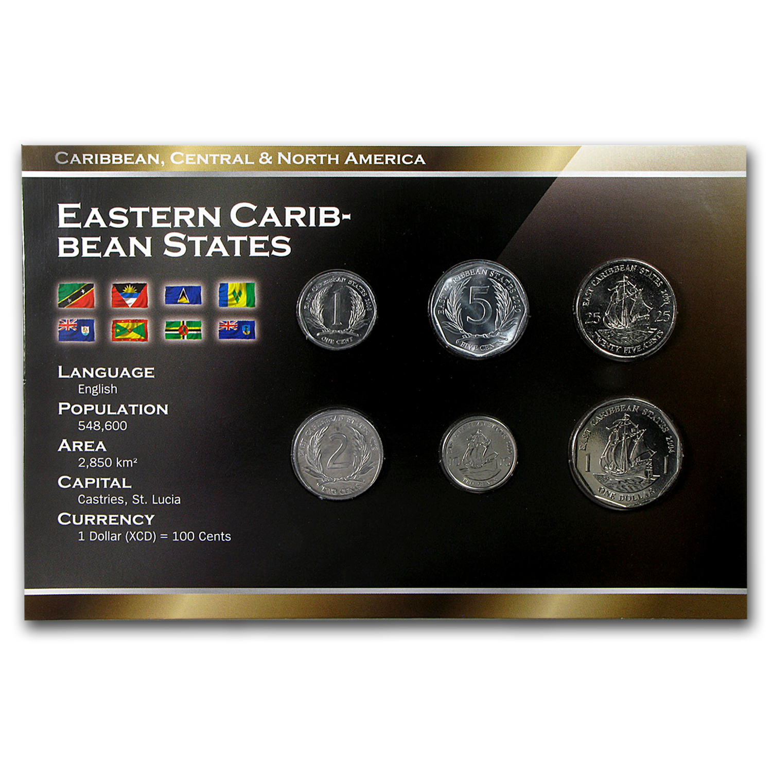2002-2008 East Caribbean States 1 Cent-1 Dollar Coin Set Unc